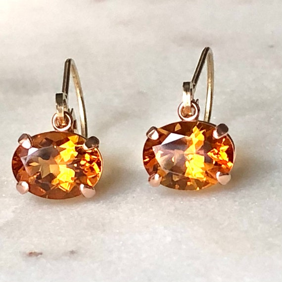 Citrine Rose Gold Dangle Earrings Fair Trade Gemstones