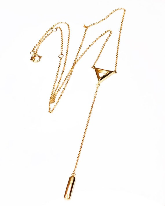 Gold Y Triangle Necklace 14k Yellow
