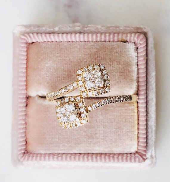 Diamond Side by Side Cluster Ring 14k Yellow