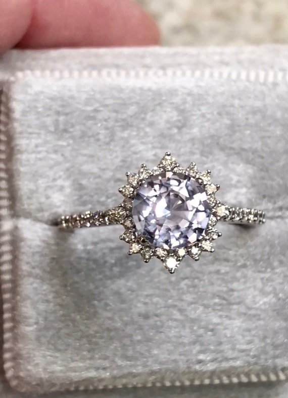 Sapphire Diamond Halo Engagement Victorian Inspired