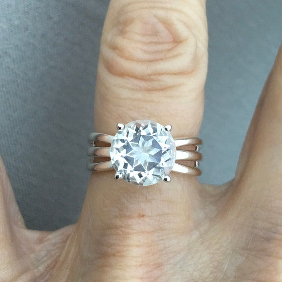 Star White Topaz Three Split Shank Ring