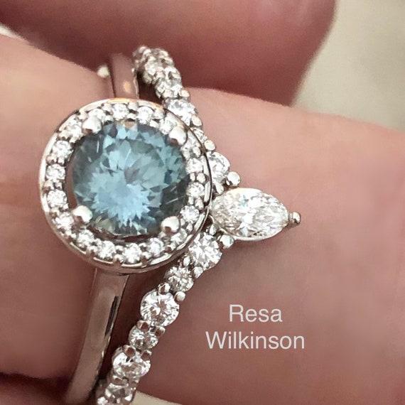 Denim Blue Montana Sapphire Diamond Halo Ring Engagement