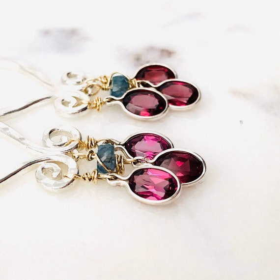 Garnet Kyanite Chandelier Earrings Boho Style Gold Silver