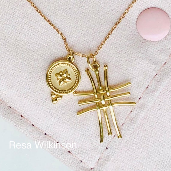 Gold Boho Cross and Charm Necklace Adjustable