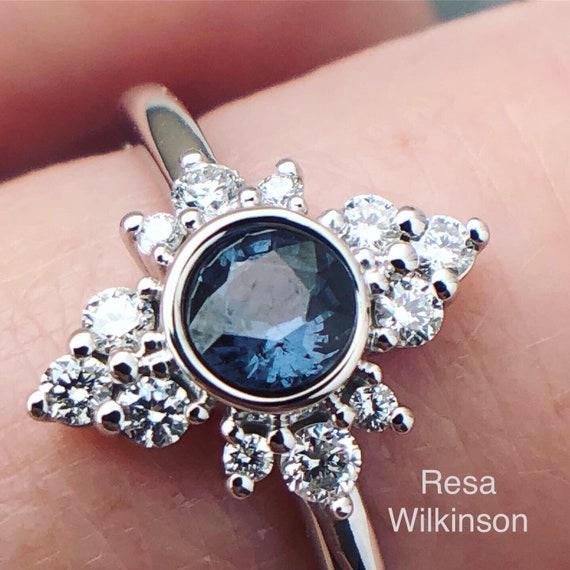 Color Change Blue Garnet Diamond Halo Ring Natural Gemstone Rare