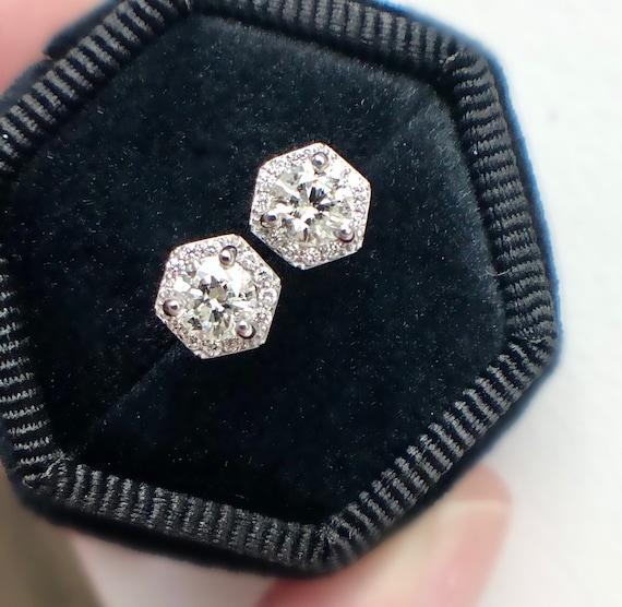Diamond Stud Earrings Hexagon Shape