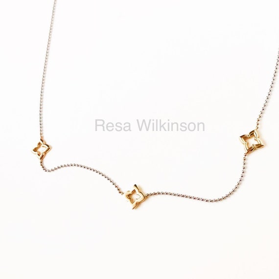 Three Gold Clovers Two Tone Necklace 14k