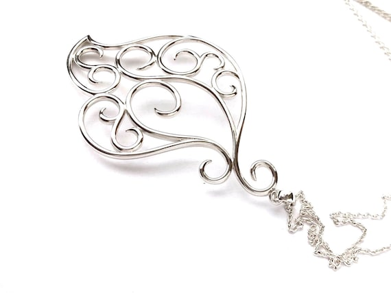 Swirly Paisley Long Necklace Sterling Silver