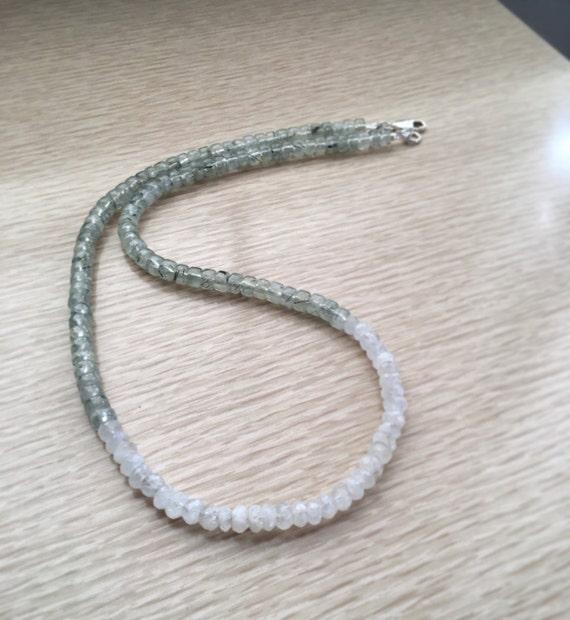 Moonstone Prehnite Epidote Gemstone Necklace Ombre Tones