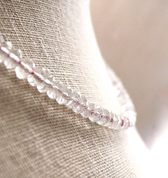 Morganite Silk Knotted Necklace Micro Faceted Gemstones Handmade