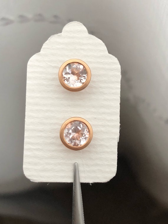 Pink Morganite 18k Rose Gold Stud Earrings Natural Gemstone