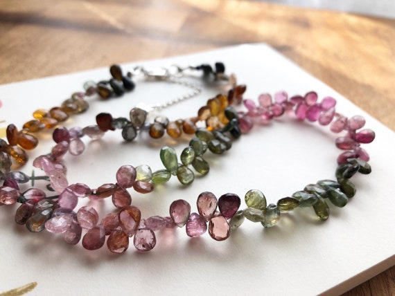 Tourmaline Necklace Faceted Pear Shape