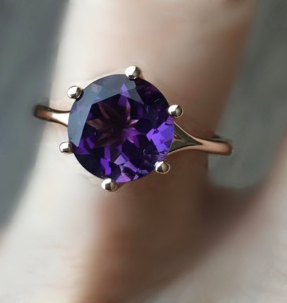 Amethyst Rose Gold Six Prong Engagement Ring