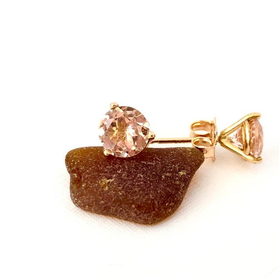 Morganite Martini Style Stud Earrings 18k Rose Gold