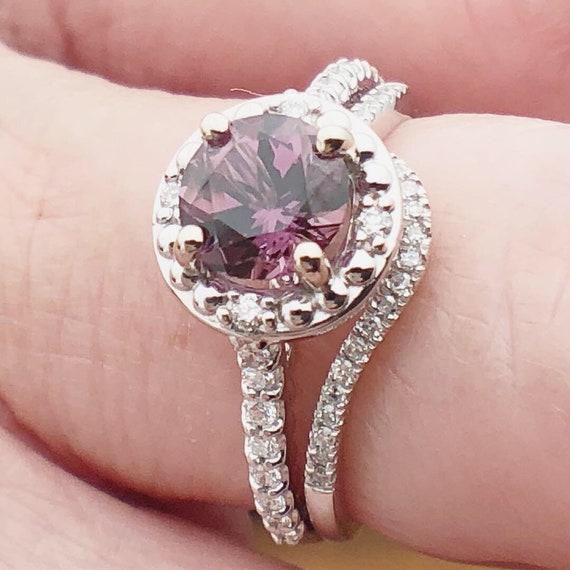 Purple Spinel Diamond Halo Ring Beaded Design 14k White