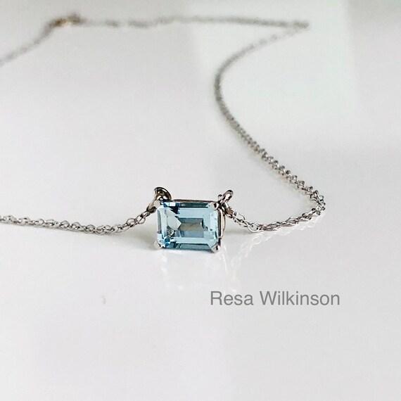 Emerald Cut 1.50 Carat Aquamarine Solitaire Necklace 14k White