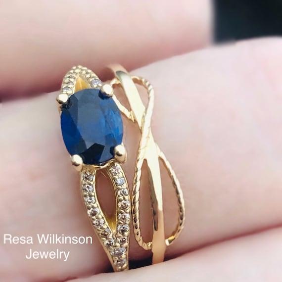 Blue Sapphire Champagne Diamond Ring 14k Yellow