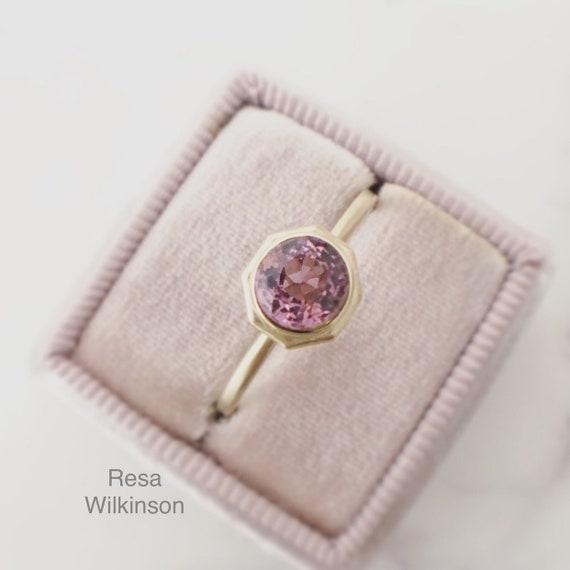 Pink Spinel Brushed Gold Ring 14k