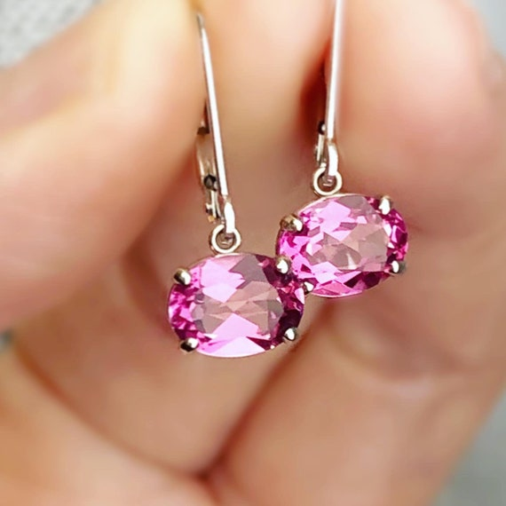 Oval Pink Topaz East West Dangle Earrings 14k White