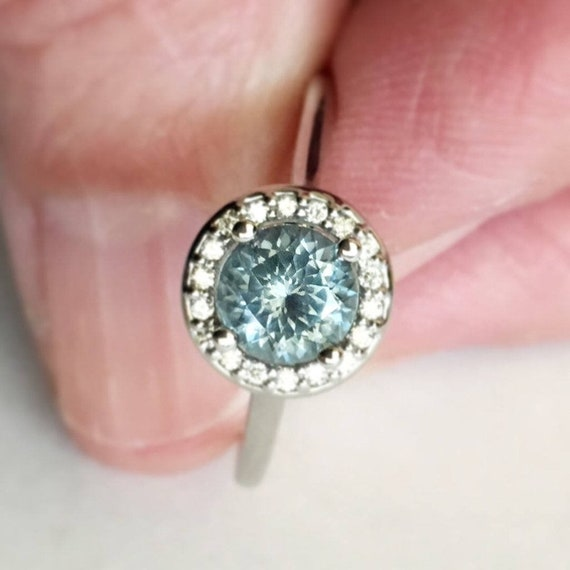 Denim Blue Montana Sapphire Diamond Halo Ring White Gold Ethically Sourced