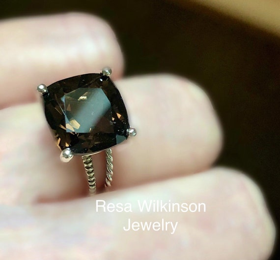 Smoky Quartz Solitaire Ring Sterling Silver Cushion Cut