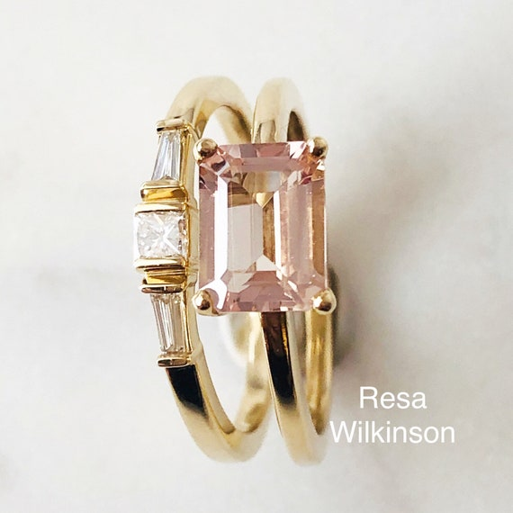 Emerald Cut Morganite East West Ring Size 7
