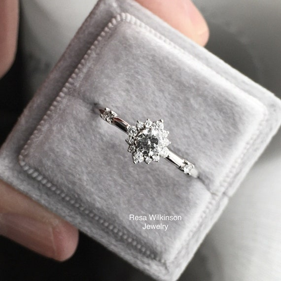 Salt and Pepper Gray Diamond Halo Engagement Ring