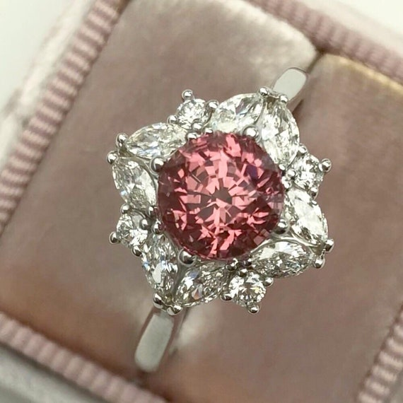Peach Pink Spinel and Diamond Halo Ring Flower Inspired