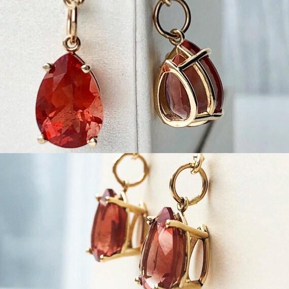 Oregon Sunstone Pear Shape Earrings 14k
