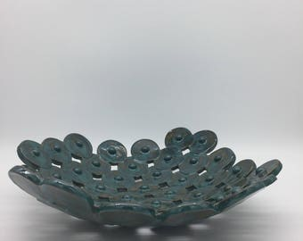 Moss Green Circle Dot Double Bowl