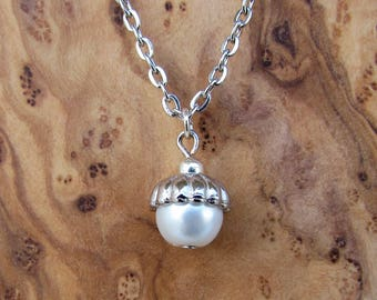 Pearl Acorn Necklace - Perfect for a Friend or Bridesmaid (Various Colors Available)