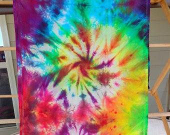 Infinity Scarf Rainbow Spiral Shibori Hand Dyed 100% Silk Scarf