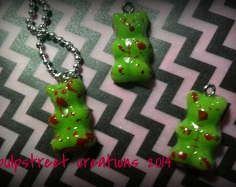 The Original ZomBear resin pendant zombie gummy bear pendant necklace