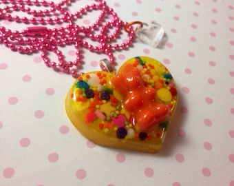 I love Gummybears Candy Sprinkle resin heart pendant necklace