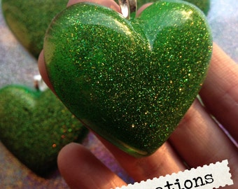 Holographic Green Neon Handcast Resin Heart Pendant Necklace