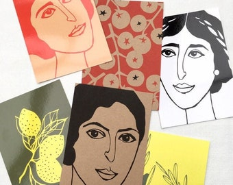 Set of 6 XL postcards (A5), printed with female portraits, olives, lemons and tomatoes,  illustrated by Celinda.