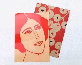 Set of 2 XL postcards (A5), printed with female portrait and tomatoes, illustrated by Celinda.