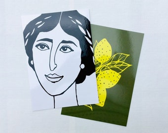 Set of 2 XL postcards (A5), printed with female portrait and lemons, illustrated by Celinda.