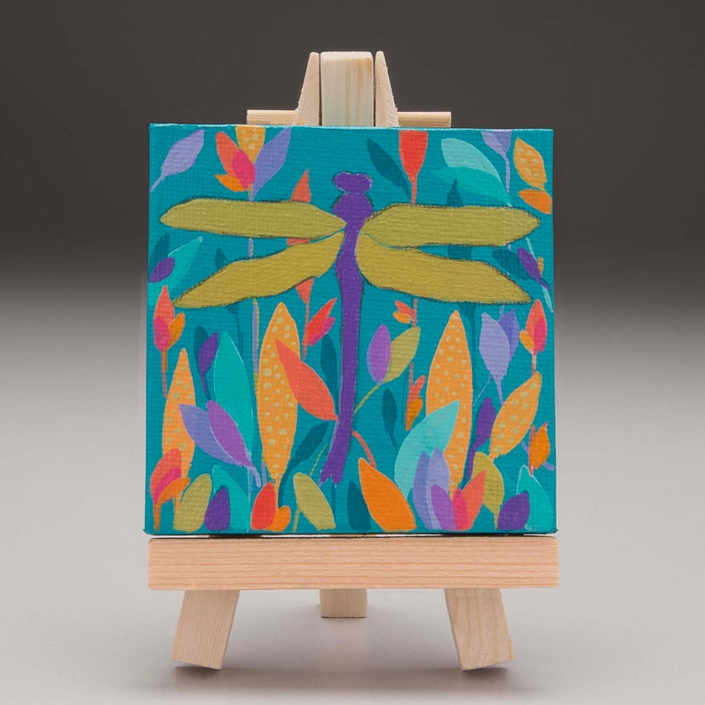 Miniature painting dragonfly painting on a 3 x 3 inch image 0