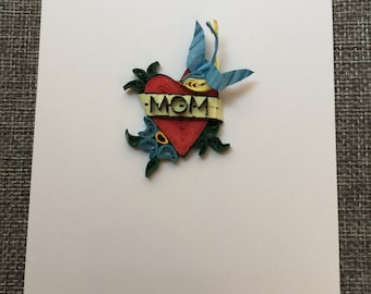 """Sailor Jerry """"MOM"""" Quilling Tattoo Postcard"""