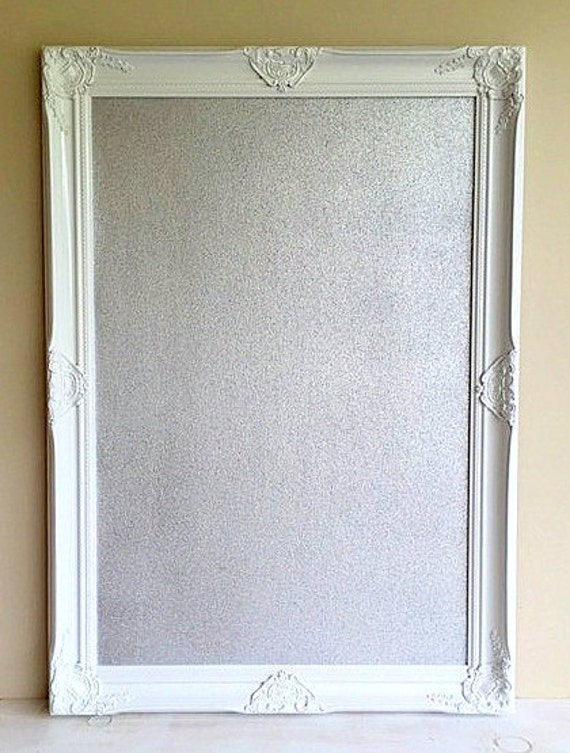 Silver CORK BOARD White Framed Pinboard Metallic Seating Chart   Etsy
