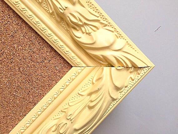 PLAYROOM WALL DECOR Butter Yellow Cork Board Artwork Display