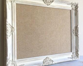 Fabric MEMO BOARD Gallery Wall Linen Board Tan White Distressed Wood Rustic  Wall Organizer Kitchen Framed