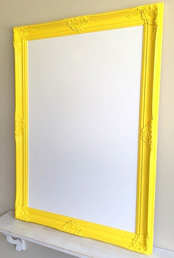 Neon Yellow Framed DRY ERASE BOARD Bright Yellow White Board | Etsy