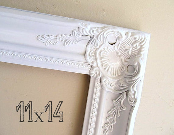 8x10 Victorian Picture Frame Wedding Gift Ornate Detailed Photo Frame Open Frame French Country Farmhouse Decor White Gold Bridesmaid Shabby