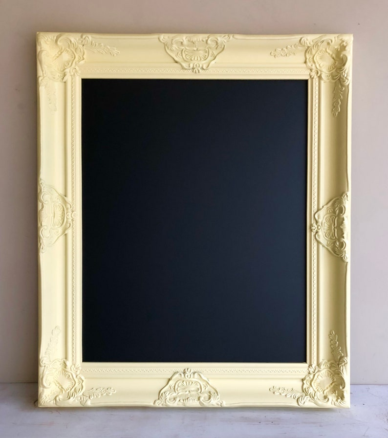 Pastel Yellow FRAMED CHALKBOARD Black and Yellow Home Decor image 0