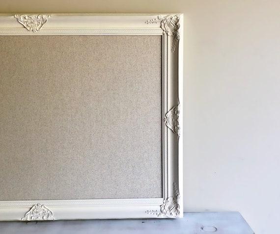 Neutral BULLETIN BOARD Framed Fabric Board Linen Cream Ivory | Etsy