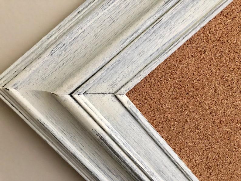 Large FRAMED CORK BOARD White Corkboard Framed Pinboard Pin image 0