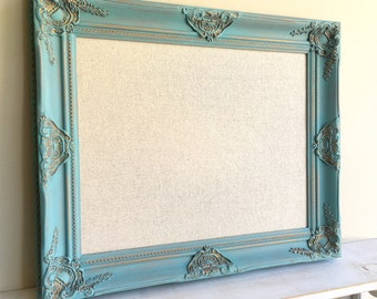 Turquoise MEMO BOARD Cork Board Linen Fabric Board Blue Teal Distressed Decorative Framed Magnet Board Bulletin Board Gold Message Board