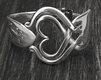 Heart Fork Bracelets, Vintage Heart Jewelry, Recycled Flatware Jewelry, Heart Design 3, Hinged Silver Cuff Bracelet, Statement Piece Jewelry